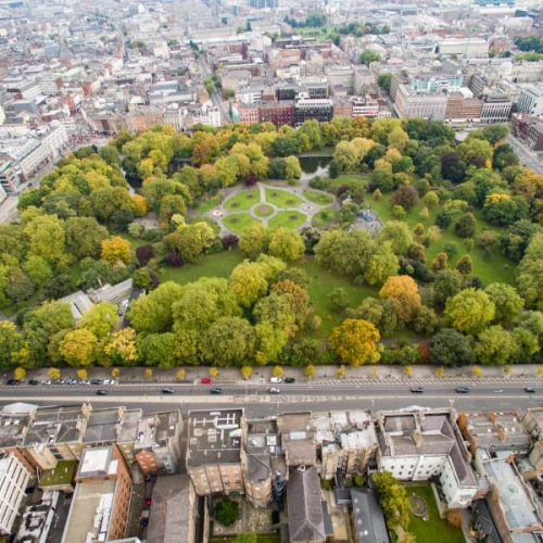 Ariel view of St. Stephen's Green Dublin